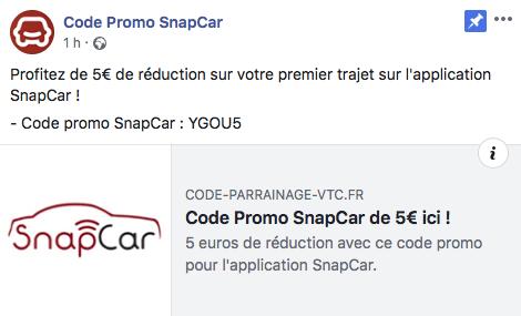 CODE PROMO VTC SNAPCAR