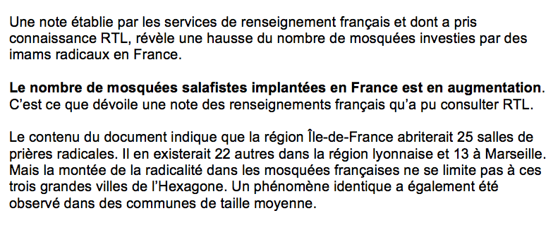 ISLAM RADICAL MOSQUEES SALAFISTES France
