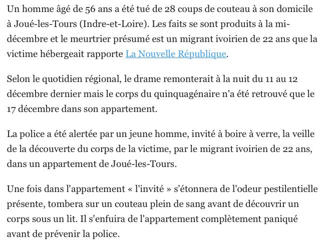Migrant poignarde un homme Français qu'il hébergeait