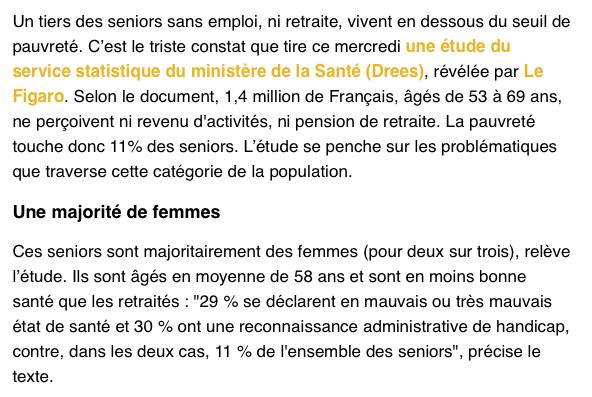 PAUVRETE SENIORS France