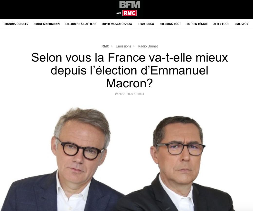PROCÉDÉS MALHONNÊTES MACRON RMC BFMTV SONDAGE BIDON