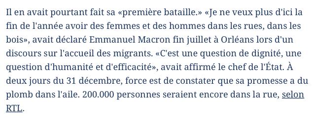 Quand Macron promettait de loger tous les SDF d'ici la fin de l'année !