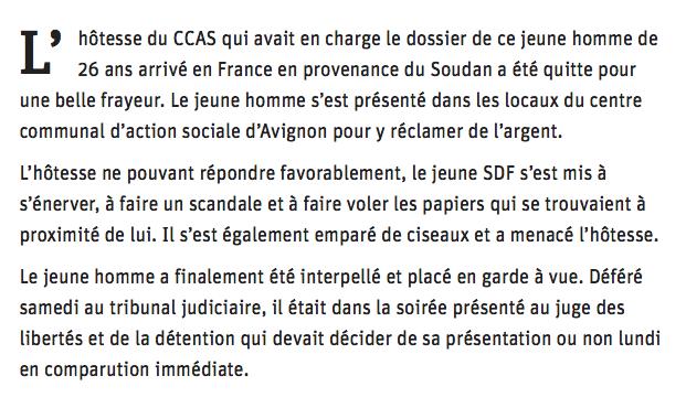 Un migrant soudanais menace l'hôtesse du CCAS avec des ciseaux !