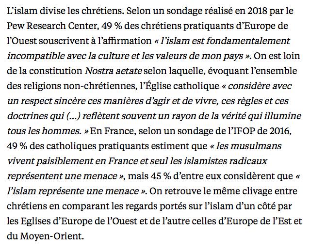 Sondage : 45% des Français estiment que l'islam est une menace pour la France !