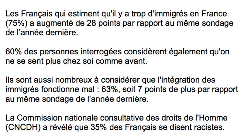 75% des Français estiment qu'il y a beaucoup trop d'immigrés en France !