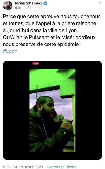(VIDÉO) - L'appel à la prière islamique à Lyon sur « haut-parleurs » au soir du 25 mars 2020 alors que toutes les églises de France faisaient sonner leur clocher n'a suscité aucun émoi chez les élus locaux !