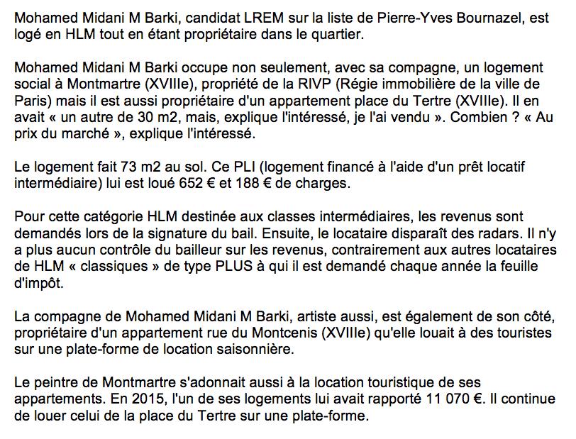 Municipales à Paris : Mohamed Midani M Barki, candidat LREM, est propriétaire d'un appartement, mais il est quand même logé en HLM !