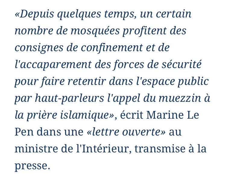 Appels à la prière islamique tous les jours à 20H : Marine Le Pen dénonce « une nouvelle escalade de l'islamisme en France »