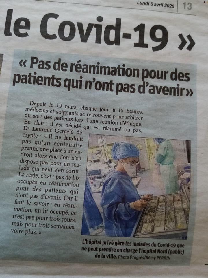 COVID-19 : Pas de réanimation pour des patients qui n'ont pas d'avenir !