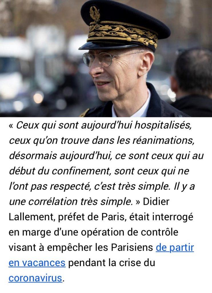 Didier Lallement : « Ceux qui sont en réanimation aujourd'hui sont les mêmes que ceux qui n'ont pas respecté les règles de confinement »