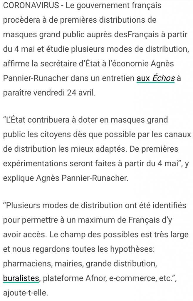COVID-19 : Des masques seront distribués aux Français dès le 4 mai, mais faudra les payer et sans qu'il y ait un encadrement sur les prix de ventes !