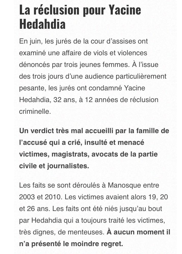 Condamné pour plusieurs viols, Yacine Hedahdia « vit très mal son isolement en prison », son avocat demande une suspension de peine…