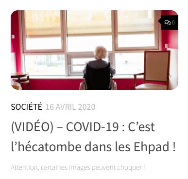 (VIDÉO) – COVID-19 : C'est l'hécatombe dans les Ehpad !