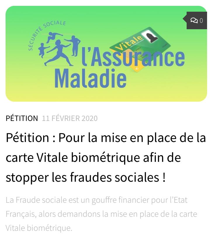 Pétition : Pour la mise en place de la carte Vitale biométrique afin de stopper les fraudes sociales !