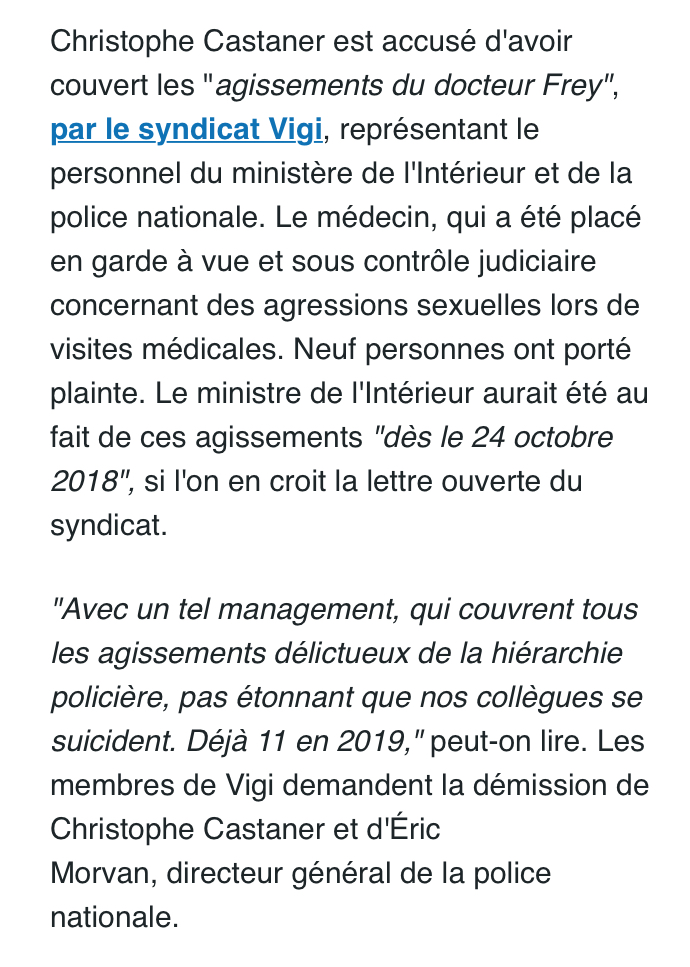 Christophe Castaner accusé d'avoir couvert des agressions sexuelles au sein de la police !