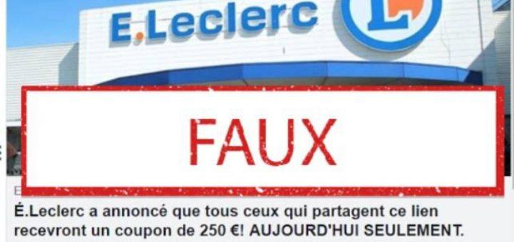 Vous pensiez avoir gagné un bon d'achat de 250 euros chez E.Leclerc ? Dommage, c'est une arnaque !