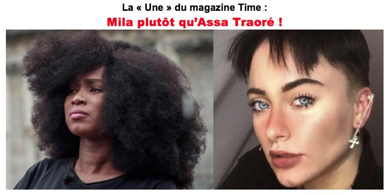 SONDAGE - La « Une » du magazine Time : Mila plutôt qu'Assa Traoré ?